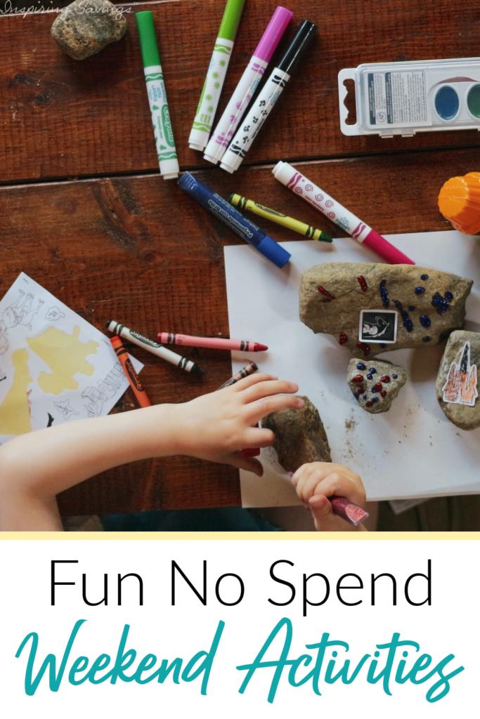 Fun no spend weekend activities - child working on art work