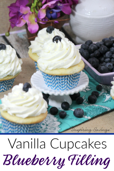 vanilla cupcakes with blueberry filling