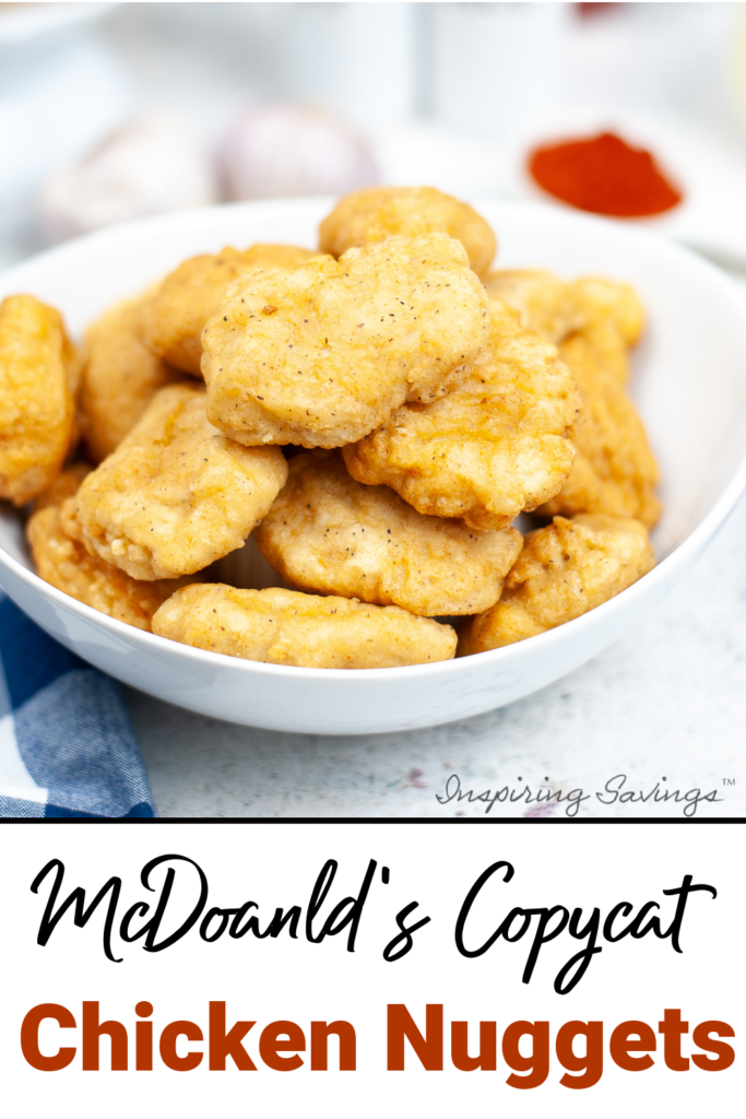 Homemade Copycat chicken nuggets from Mcdonald's in a white bowl