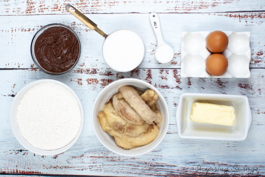 Ingredients needed to make Nutella Swirl Banana Bread