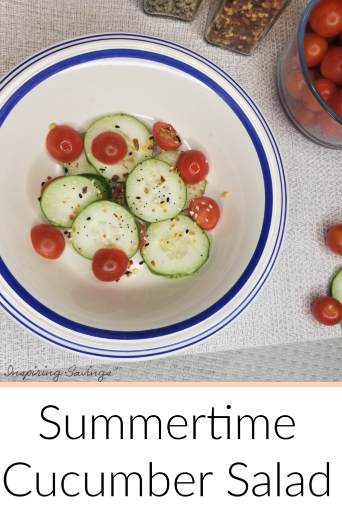 Cucumber and tomato salad in bowl