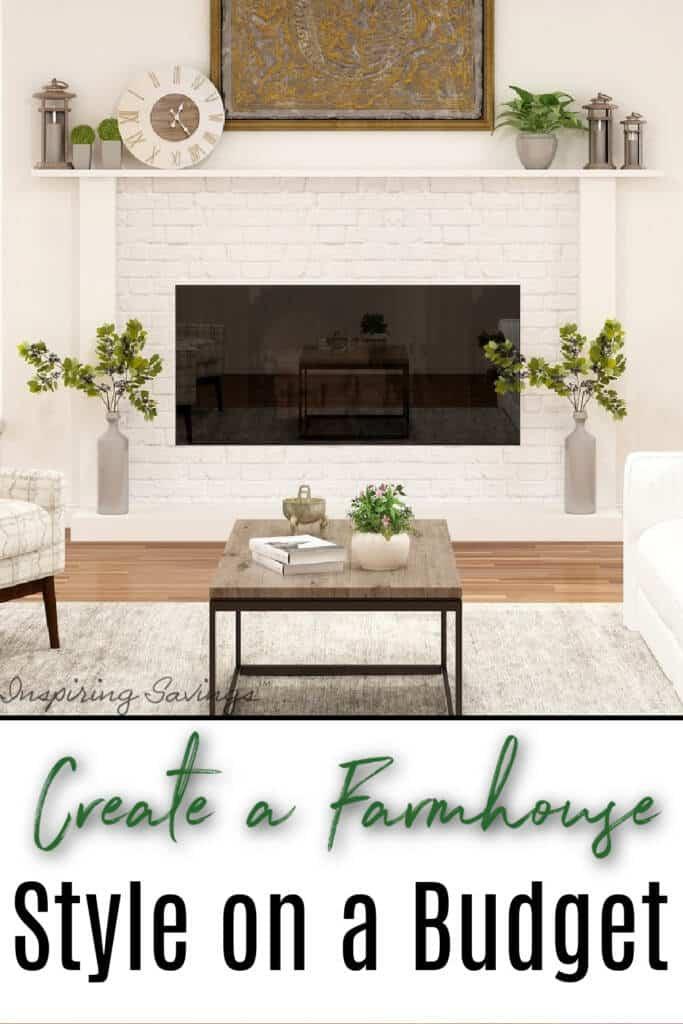 "Beautifully designed farmhouse living - text overlay ""Budget Friendly Farmhouse Decor Product Ideas"""