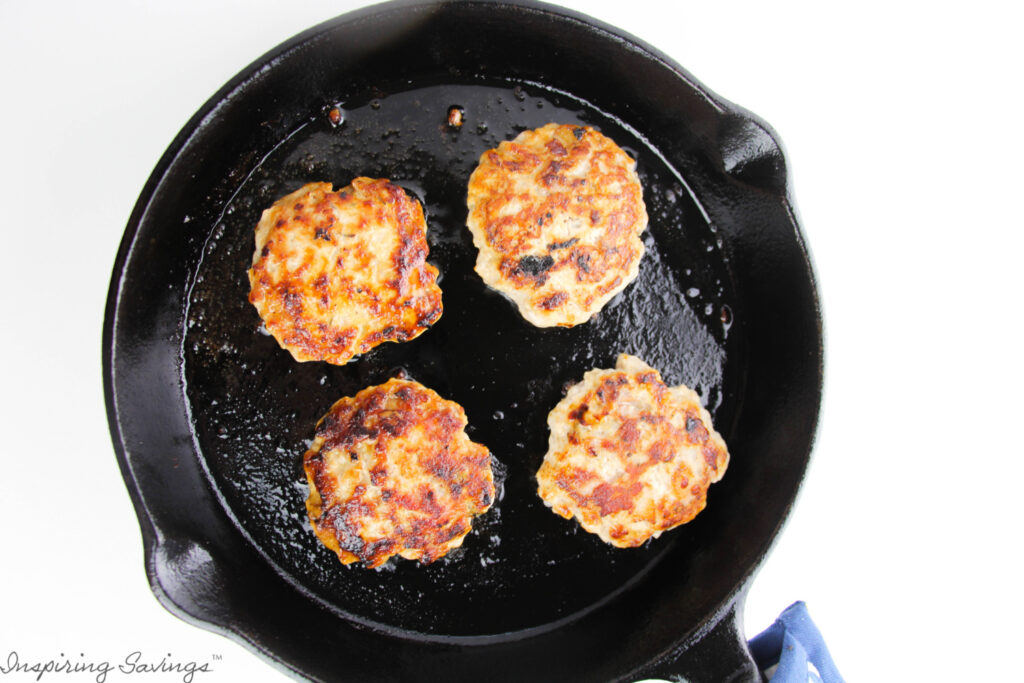 In Iron Skillet Homemade Pork Sausage Patties. Fully Cooked Sausage