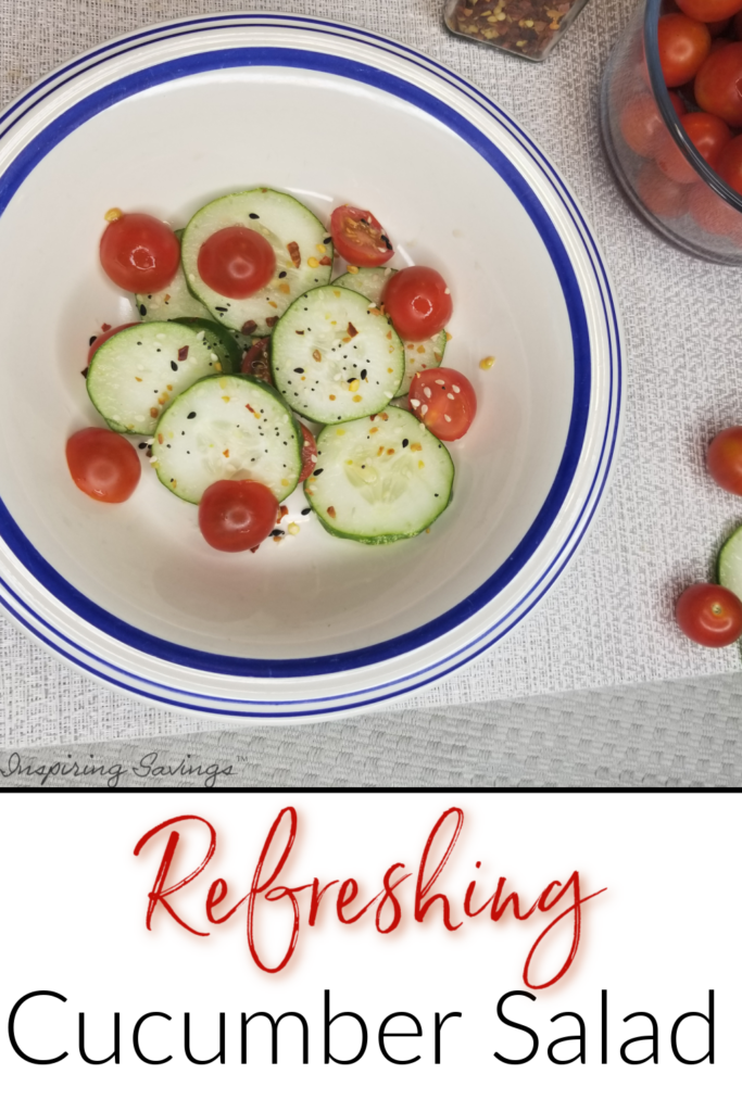 summertime cucumber & tomato salad in bowl