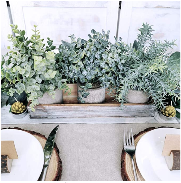 Set of 3 Mini Potted Artificial Eucalyptus Plants