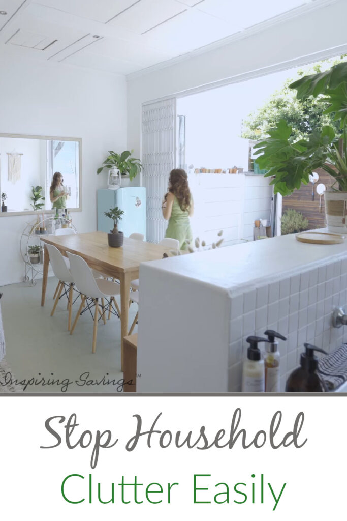 Woman cleaning her house. Preventing clutter