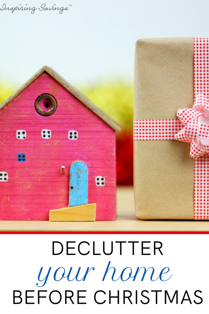 """House next to a Christmas present. Image contains text overlay - """"Declutter your home before Christmas"""""""