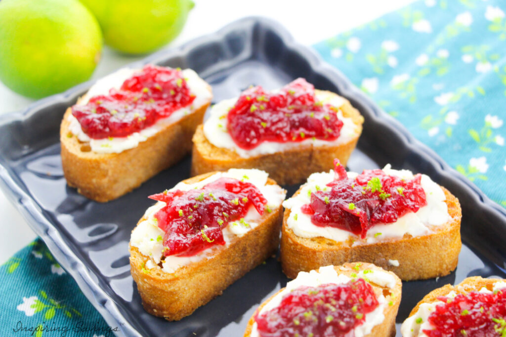 Cranberry Cream Cheese Crostini on tray for serving