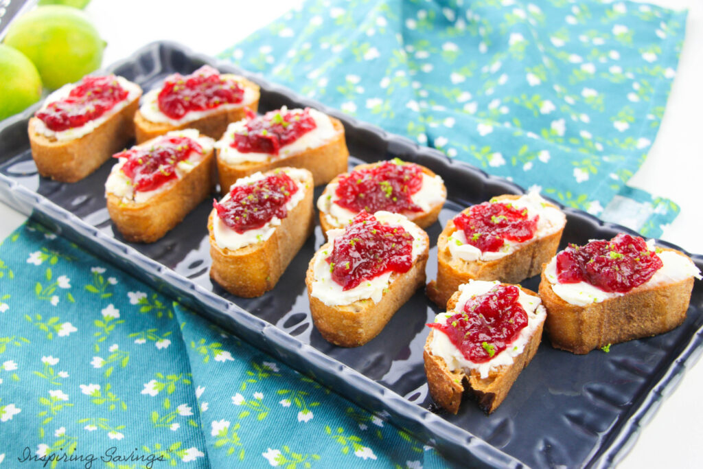Cranberry cream cheese Crostini on tray for serving ready to eat